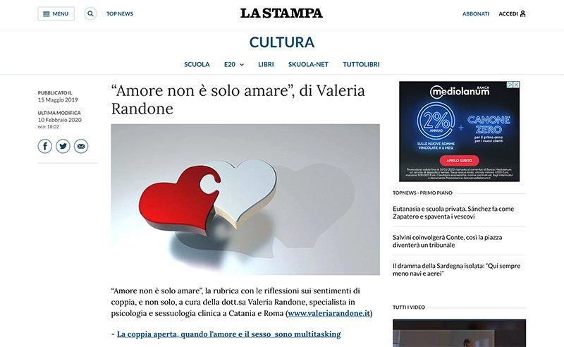 Rubrica di Valeria Randone su La Stampa