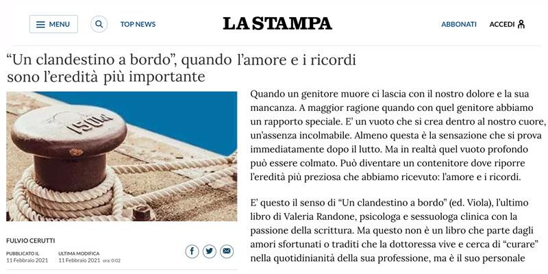 """La Stampa presenta """"Un clandestino a bordo"""" di Valeria Randone"""